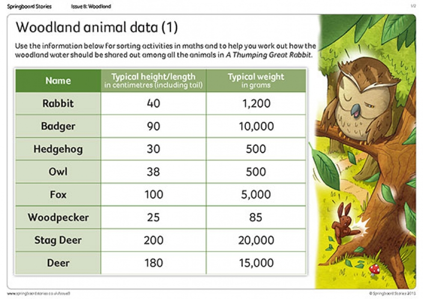 Woodland animal data primary resource