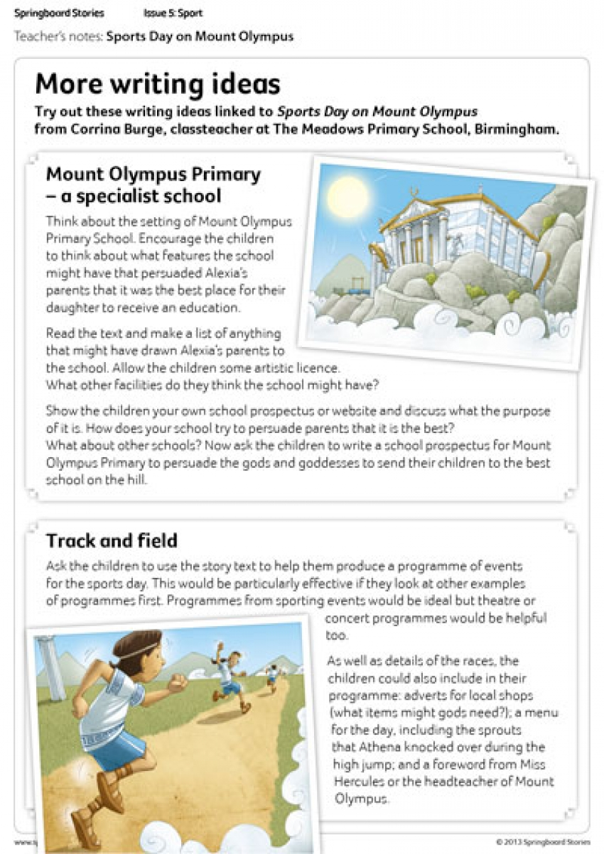 Sports Day on Mount Olympus literacy writing ideas for primary children