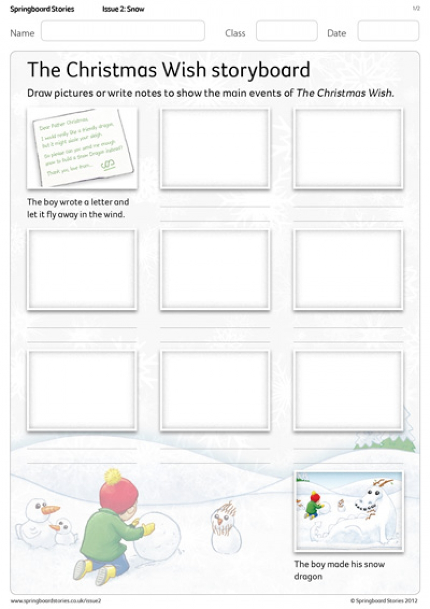 The Christmas Wish storyboard primary resource