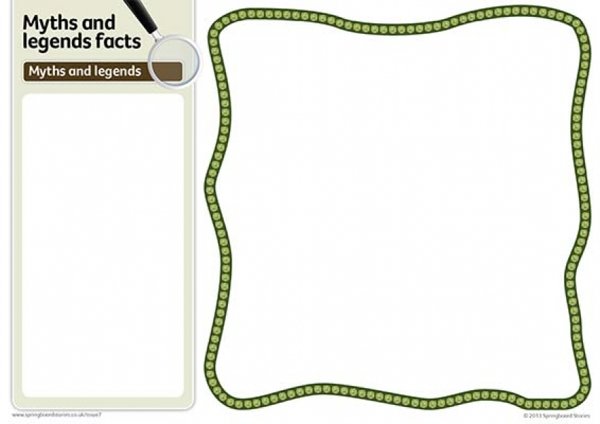 Myths and legends fact card template