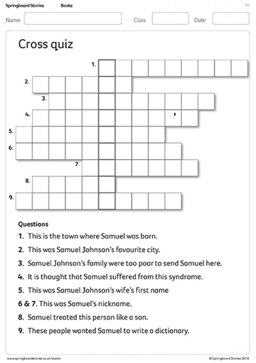 Samuel Johnson cross quiz primary resource