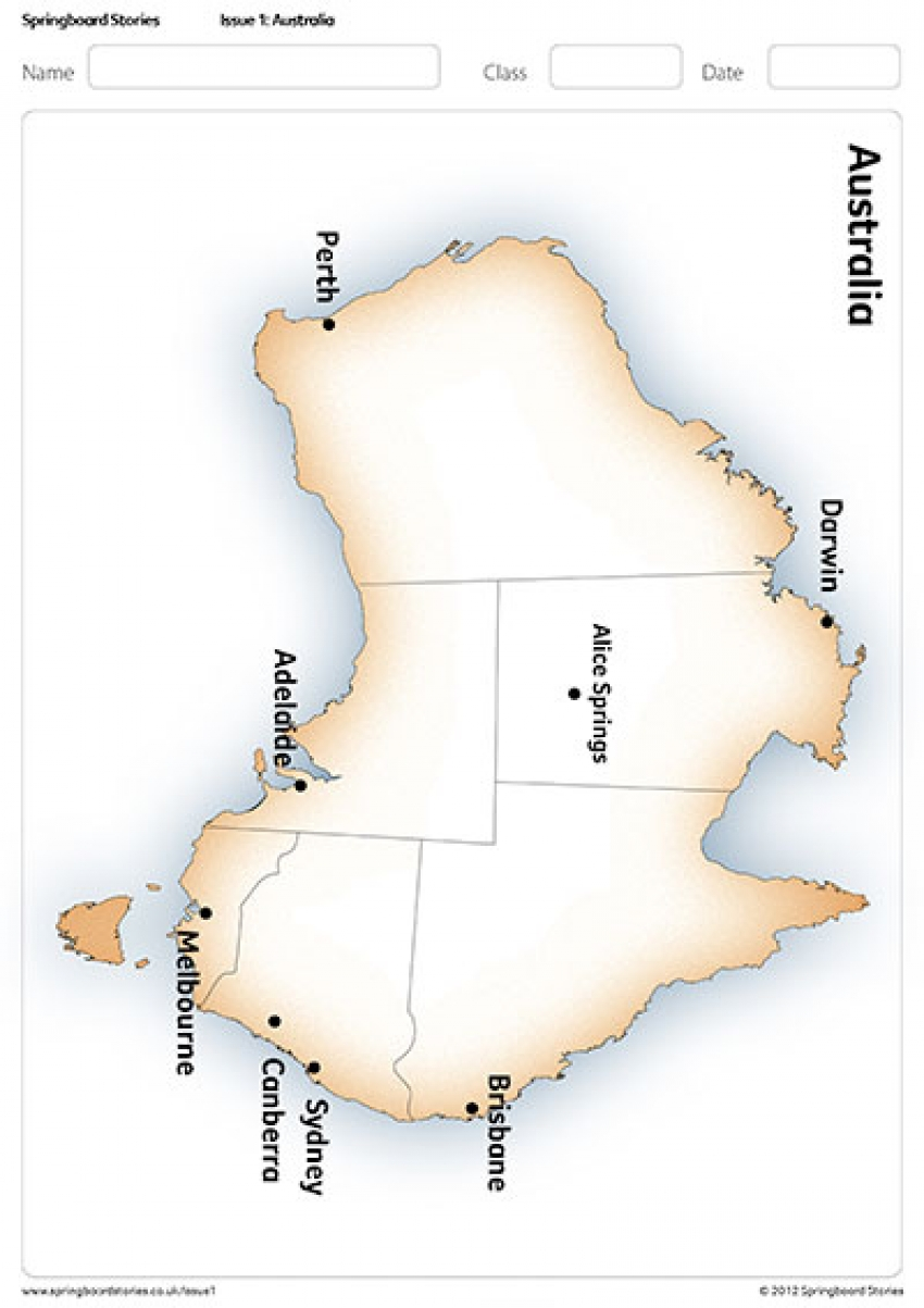 Map of Australia primary resource – Australia topic