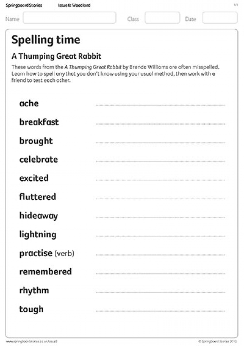 A thumping great rabbit spelling resource