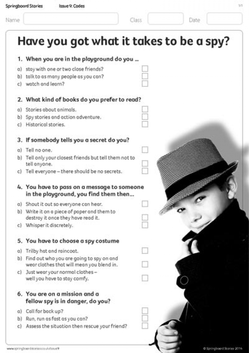 Spy questionnaire primary resource