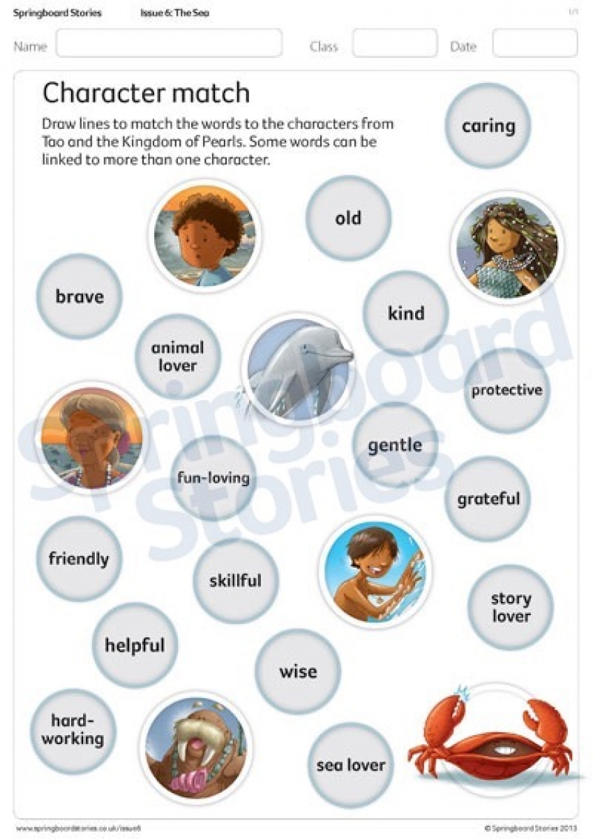 Character match primary literacy resource