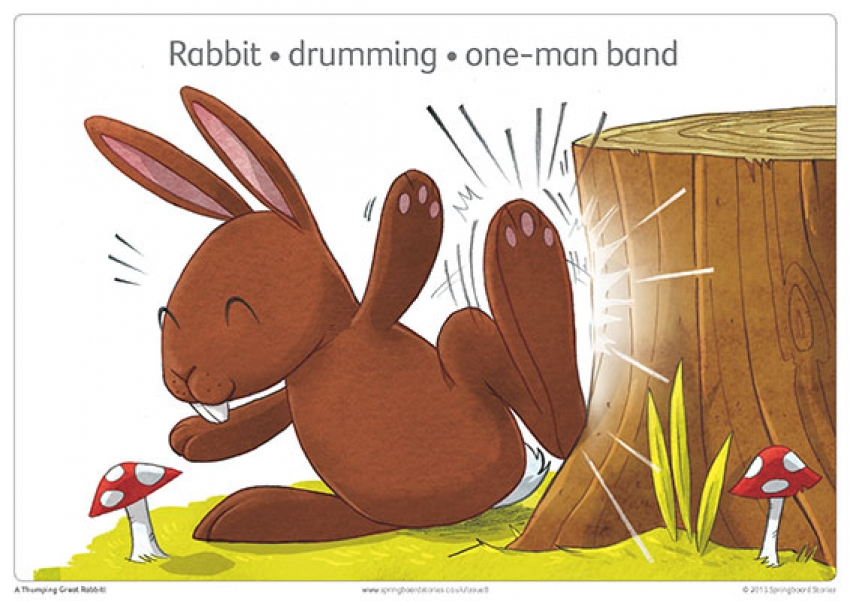 A thumping great rabbit storytelling prompt cards primary resource – phrases