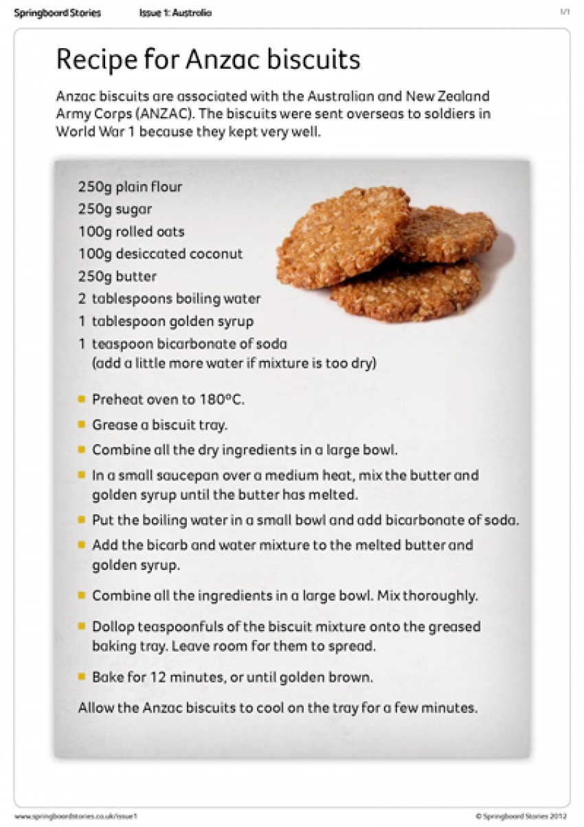 Anzac biscuit recipe primary resource – Australia topic