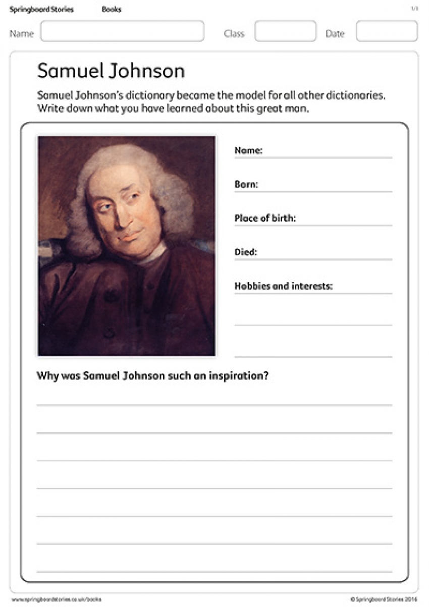 Write a Samuel Johnson profile