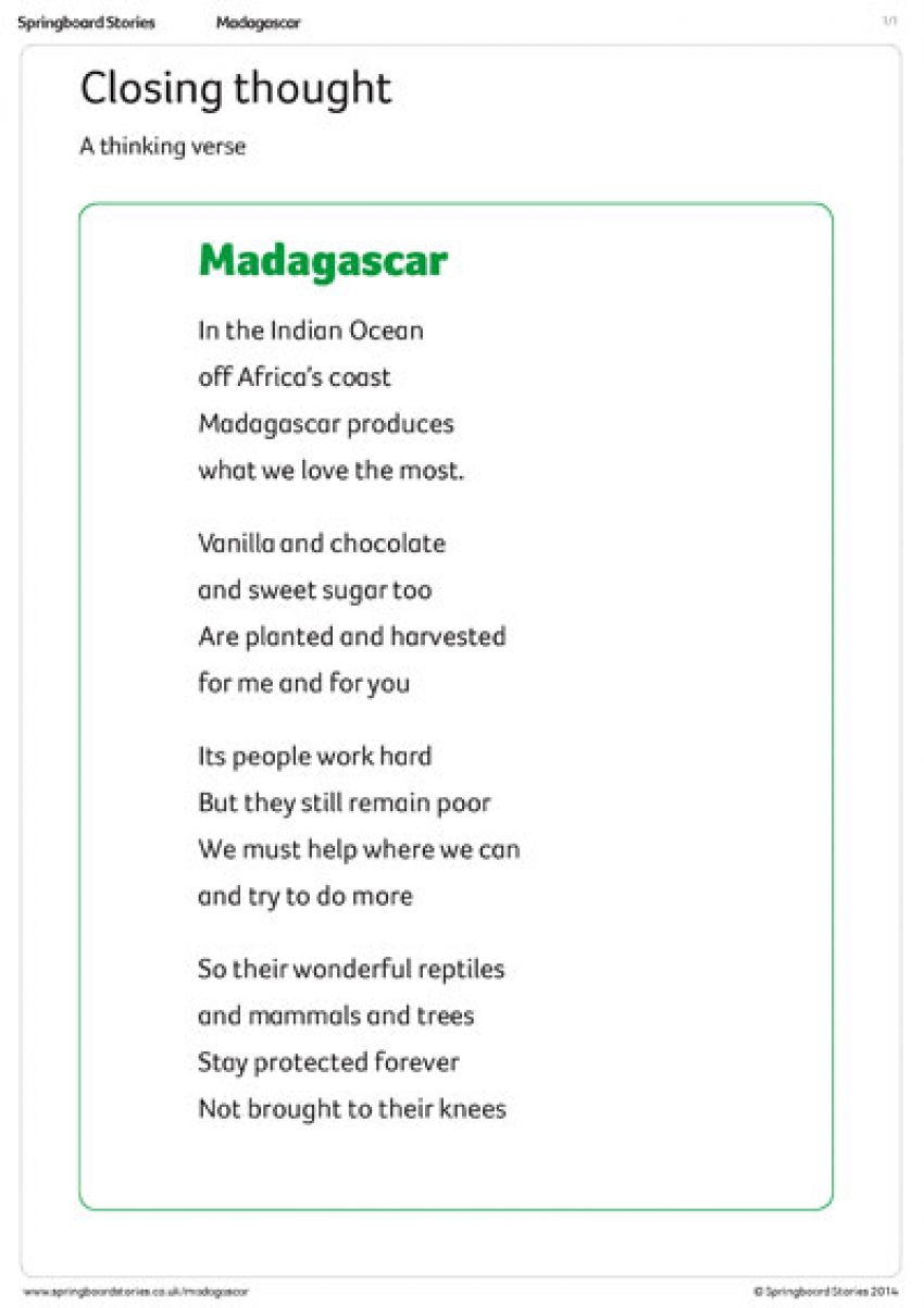 Madagascar assembly – closing thought