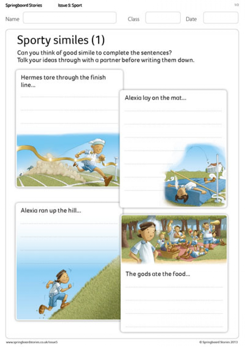 Sports Day on Mount Olympus similes literacy resource for primary