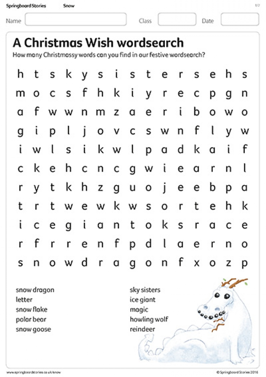 Wordsearch activity sheet