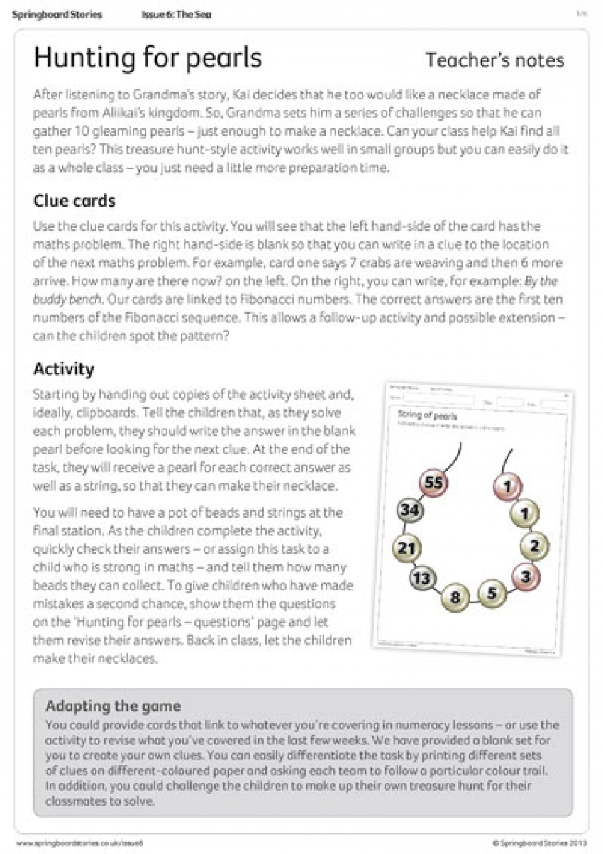 Hunting for pearls primary activity sheet