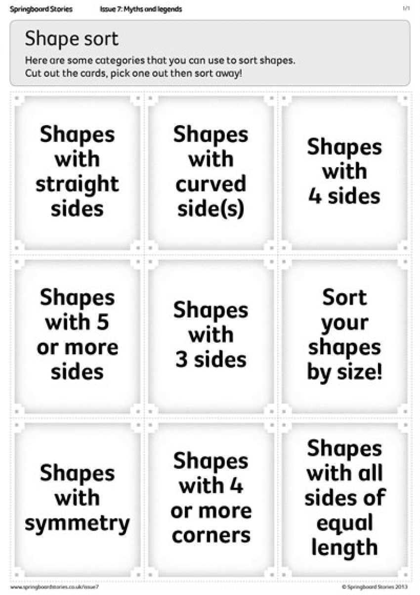 Shape sort primary maths resource