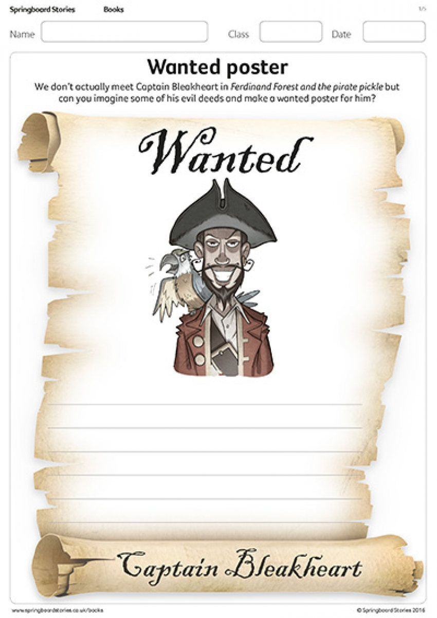 Wanted posters resource for Ferdinand Forest and the pirate pickle