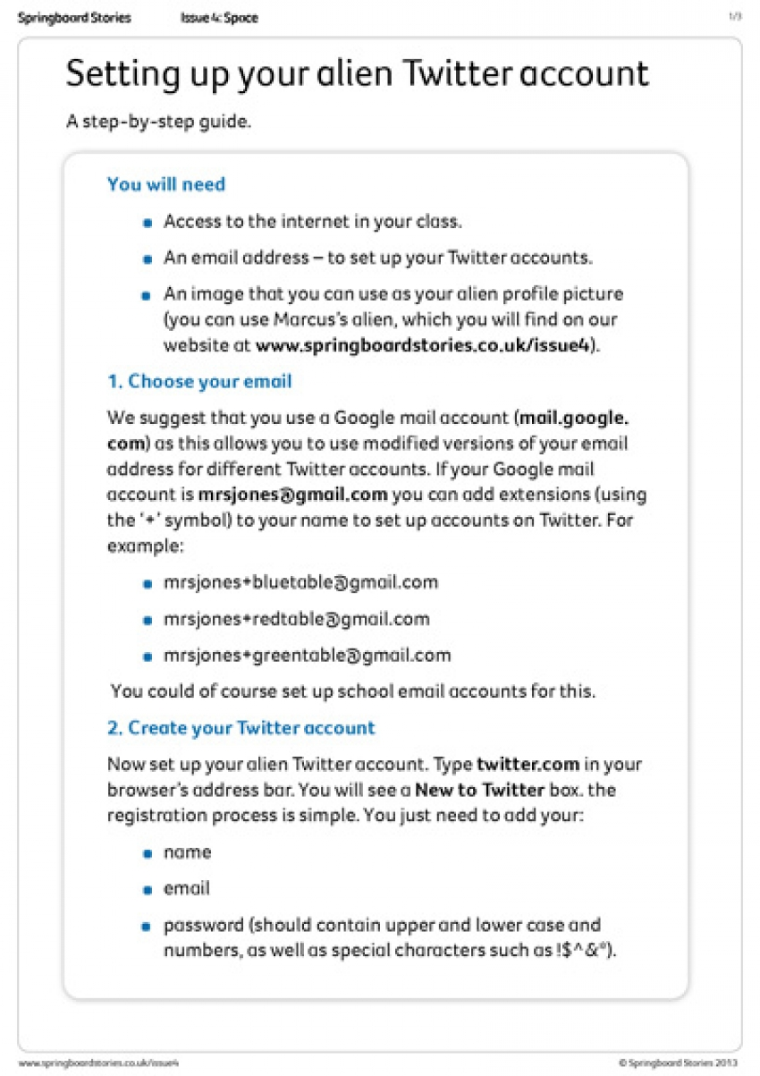 Twitter – setting up an account