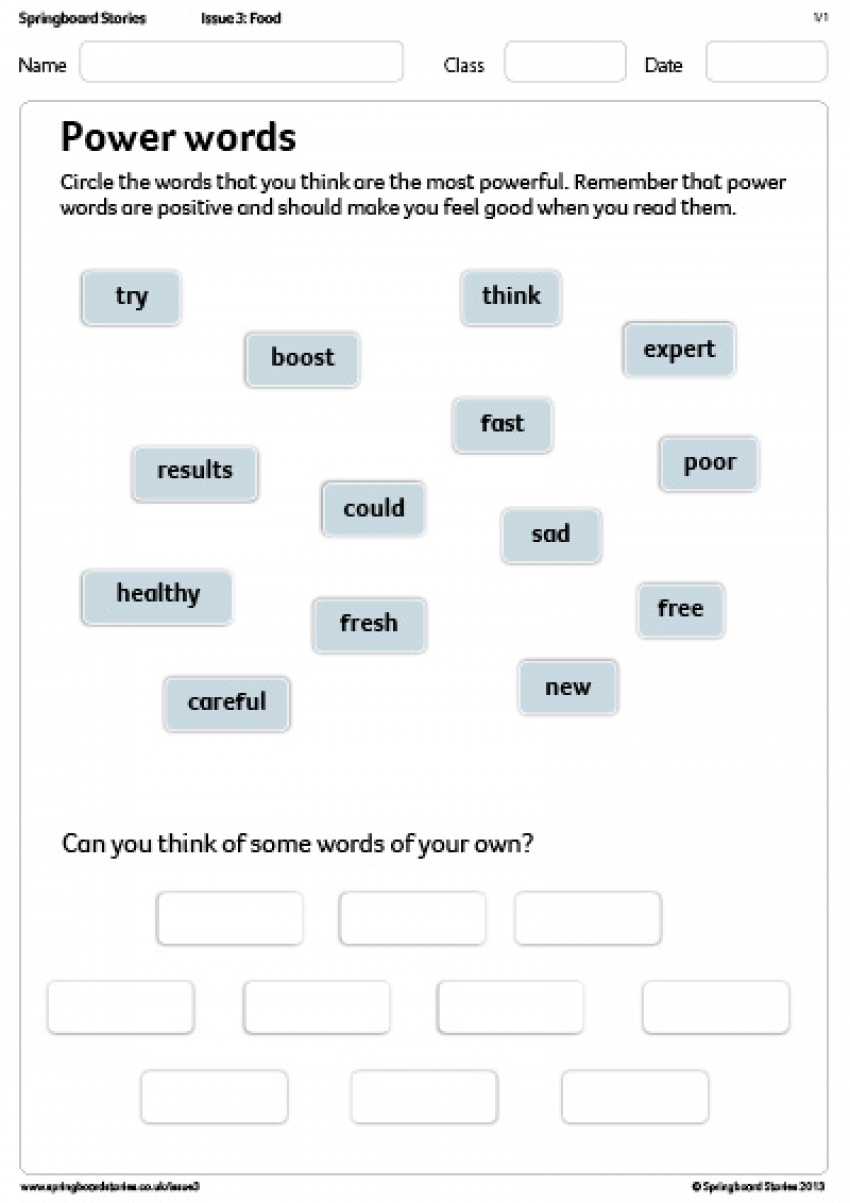 Power words primary resource